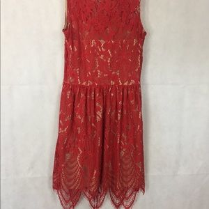 Love Fire Mid Length Red Lace Dress